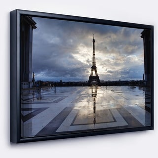 Designart 'Reflection of Paris Eiffel TowerWith Clouds' Extra Large Framed Canvas Art Print (4 options available)