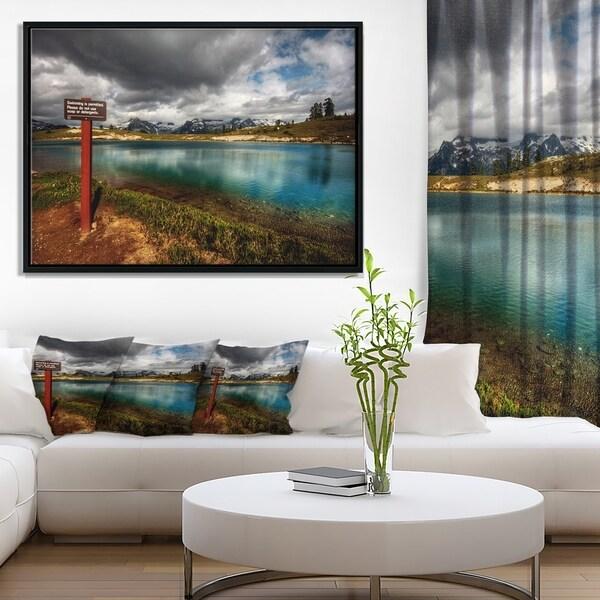 Designart 'Azure Mountain Lake with Clouds' Landscape Framed Canvas Art Print