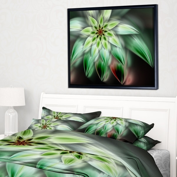 Designart 'Green Flower Fractal Artwork' Floral Framed Canvas Art Print