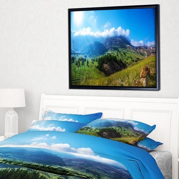 Designart 'Mountain Landscape Panorama' Landscape Framed Canvas Art Print