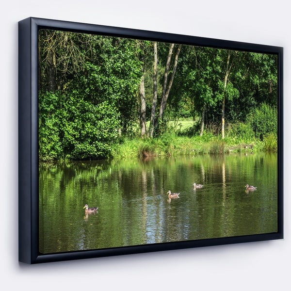 Designart 'Bushes and Trees in River Bank' Landscape Framed Canvas Art Print