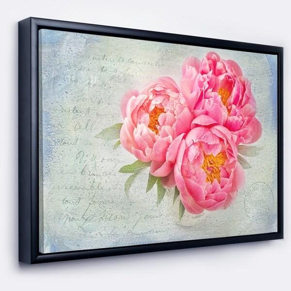 Designart 'Pink Peony Flowers in White Vase' Floral Framed Canvas Art Print