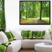 Designart 'Park in Autumn Panorama' Landscape Framed Canvas Art Print