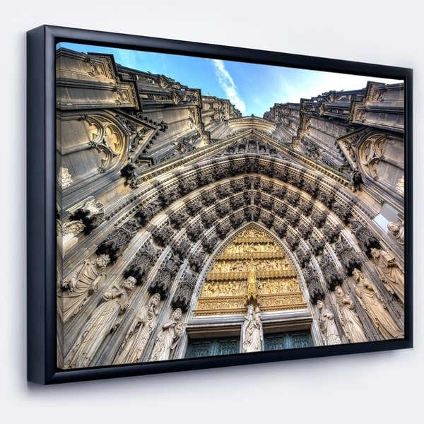 Designart 'Facade of the Dom Church in City' Large Cityscape Art Print on Framed Canvas