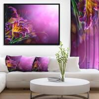 Designart 'Flowers on Purple Background' Floral Framed Canvas Art Print