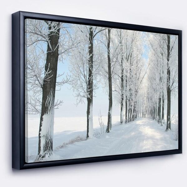 Designart 'Beautiful Winter Forest Lane Photo' Large Forest Framed Canvas Art Print