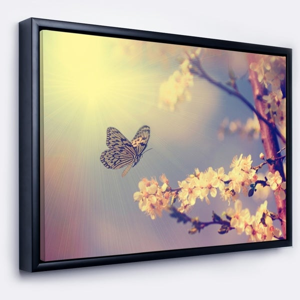 Designart 'Vintage Butterfly and Cherry Tree' Large Floral Framed Canvas Art Print