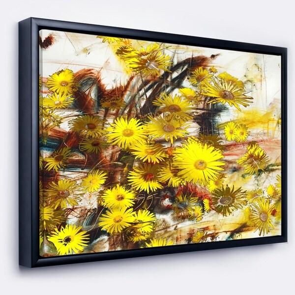 Designart 'Yellow Flowers Watercolor Illustration' Floral Art Framed Canvas Print