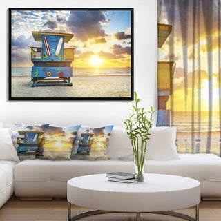 Designart 'Miami South Beach Sunrise' Large Seashore Framed Canvas Wall Art