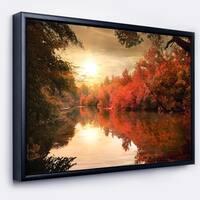 Designart 'Colorful Fall Sunset over River' Landscape Framed Canvas Art Print