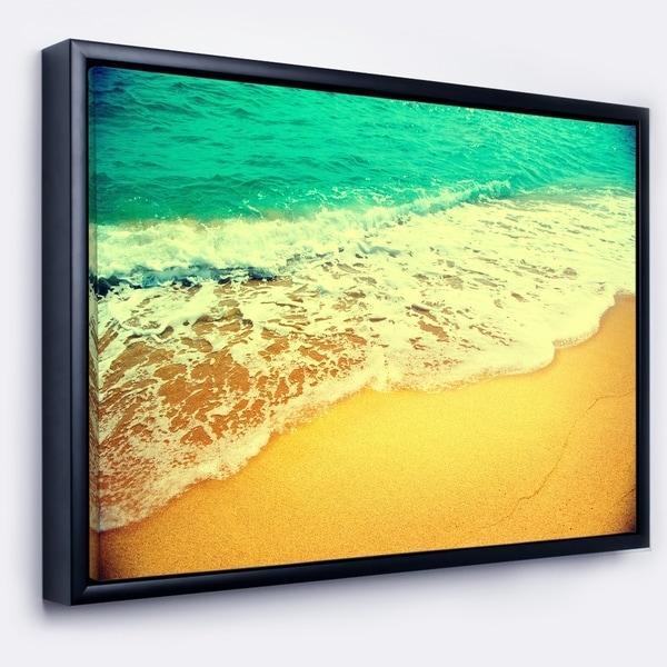 Designart 'Beautiful Sea Summer Background' Large Seashore Framed Canvas Wall Art