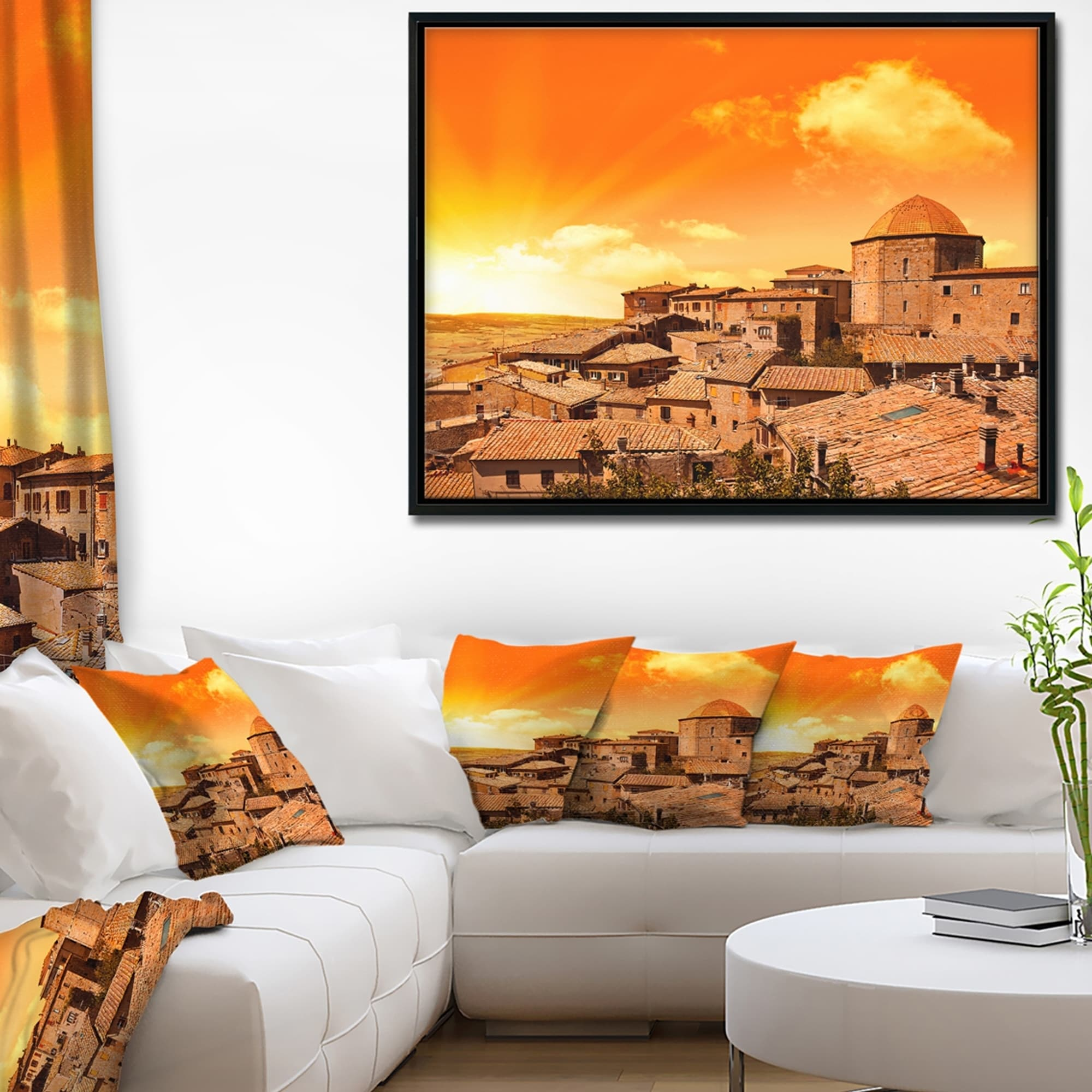 Tuscany Landscape Abstract Picture PANORAMA CANVAS WALL ART Print Orange