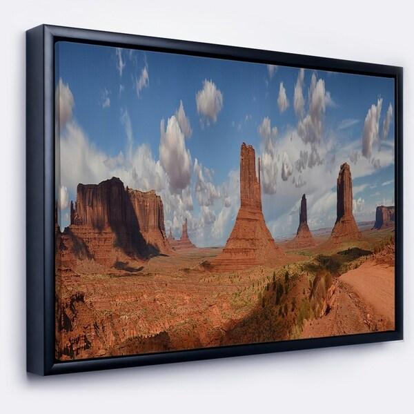 Designart 'Monument Valley Mountains' Landscape Framed Canvas Art Print