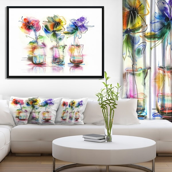 Designart 'Abstract Flowers in Glass Vases' Extra Large Floral Framed Canvas Art