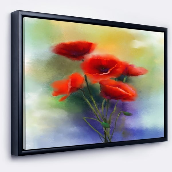 Designart 'Watercolor Red Poppy Flowers Painting' Large Floral Framed Canvas Art Print