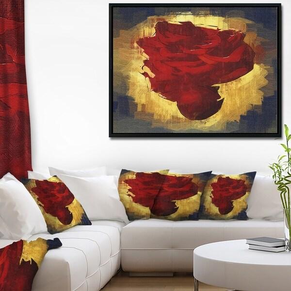 Designart 'Vintage Background With Red Flower' Large Floral Framed Canvas Art Print