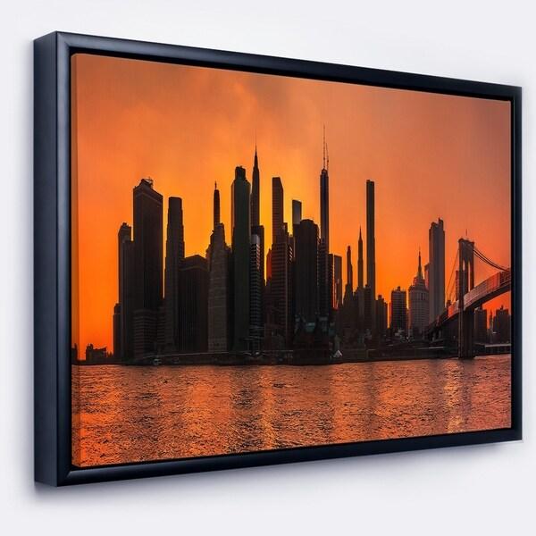 Designart 'Silhouettes of Manhattan Panorama' Extra Large Framed Canvas Art Print