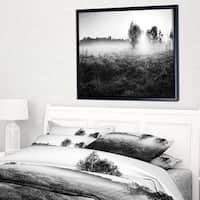 Designart 'Rural Meadow in Mist' Landscape Framed Canvas Art Print