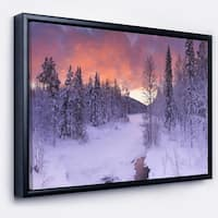 Designart 'Finnish Lapland Trees in Winter' Landscape Framed Canvas Art Print