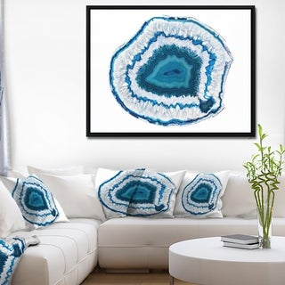 Designart 'Blue Agate Crystal' Abstract Framed Canvas Wall Art Print