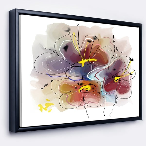 Designart 'Brown Blue Flower Illustration Art' Extra Large Floral Framed Canvas Art