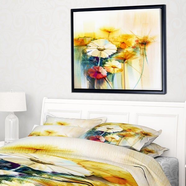 Designart 'Bunch of White Yellow Flowers' Large Floral Framed Canvas Art Print
