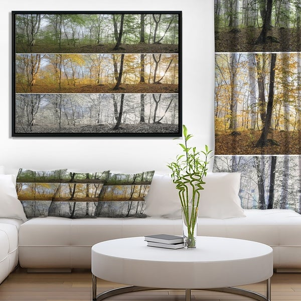Designart 'Three Seasons Forest Panorama' Landscape Framed Canvas Art Print