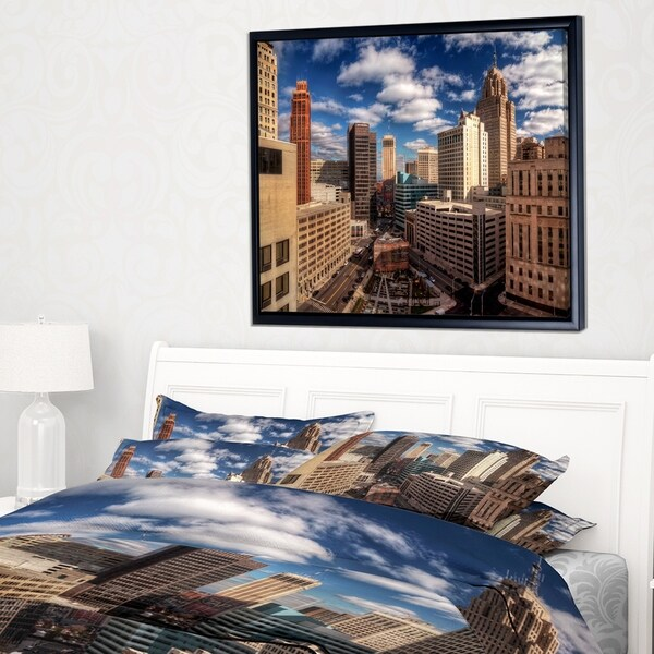 Designart 'Amazing Urban City With Skyline' Extra Large Framed Canvas Art Print