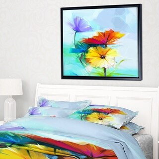 Designart 'Amazing Watercolor of Spring Daisies' Large Floral Framed Canvas Art Print