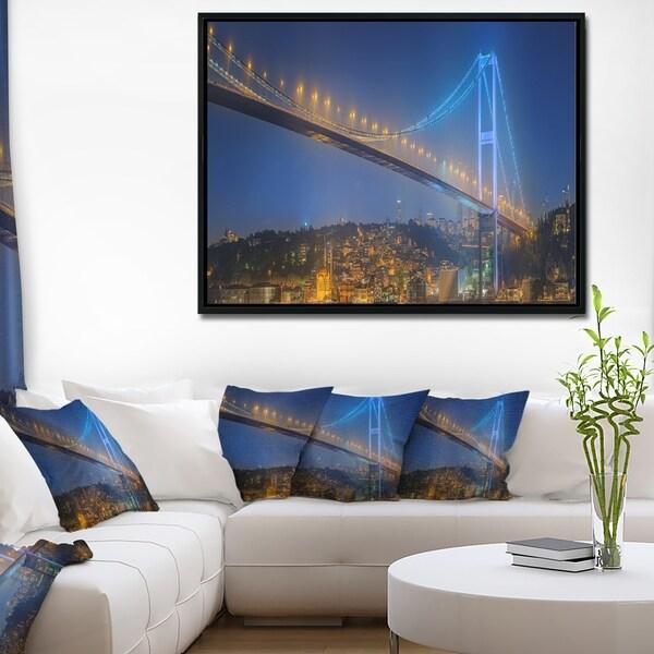 Designart 'Bosphorus Bridge at Night Istanbul' Landscape Framed Canvas Art Print