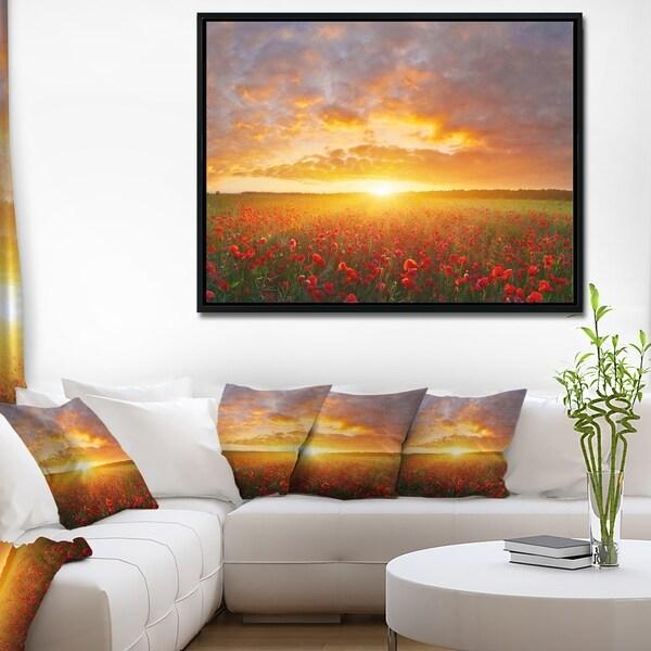 Designart 'Poppy Field under Bright Sunset' Landscape Framed Canvas Art Print