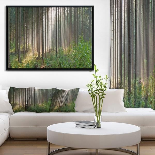 Designart 'Green Forest in Mist Panorama' Landscape Framed Canvas Art Print
