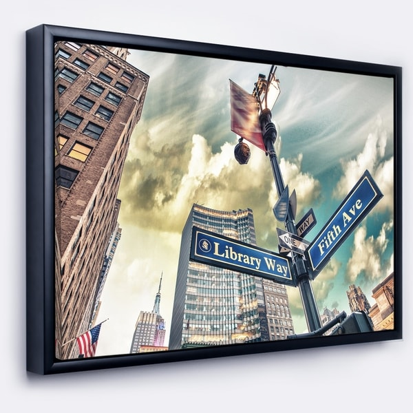 Designart 'Library Way and 5th Avenue Street Signs' Modern Cityscape Framed Canvas Art Print
