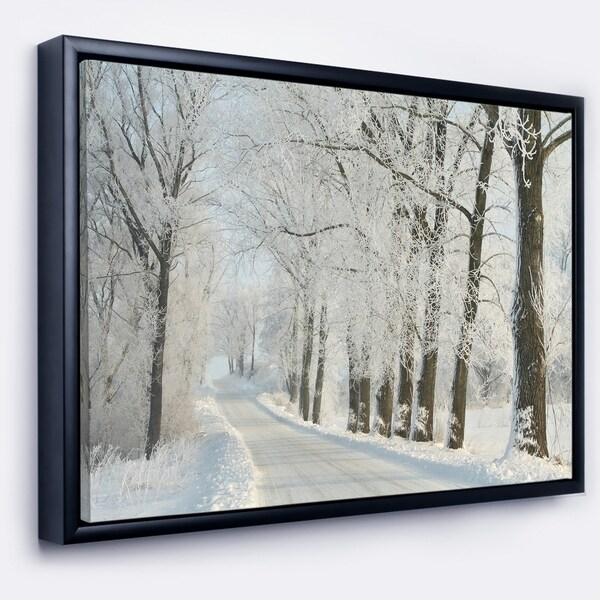 Designart 'Winter Road in Dense Foggy Forest' Large Forest Framed Canvas Art Print