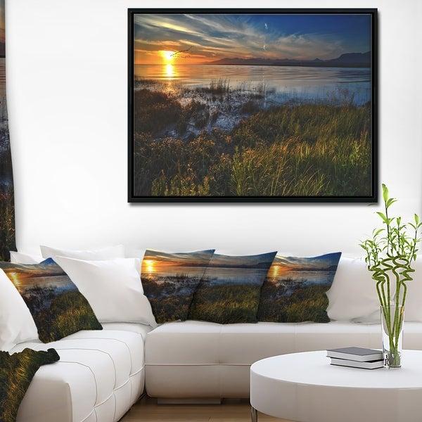 Designart 'Warm River Sunset With Migrating Geese' Extra Large Landscape Framed Canvas Art Print