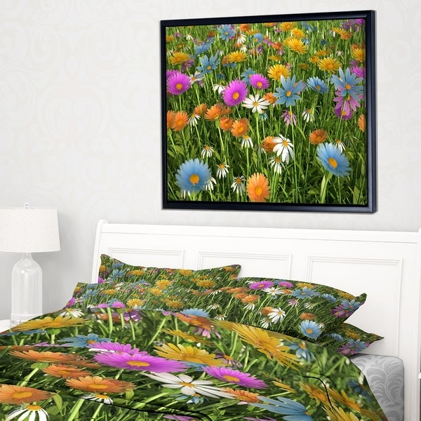 Designart 'Different Color Flowers in Field' Floral Framed Canvas Art Print