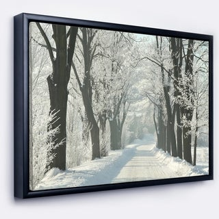 Designart 'Country Road Between Foggy Trees' Large Forest Framed Canvas Art Print
