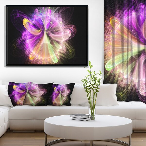 Designart 'Purple Circle with Amazing Curves' Floral Framed Canvas Art Print