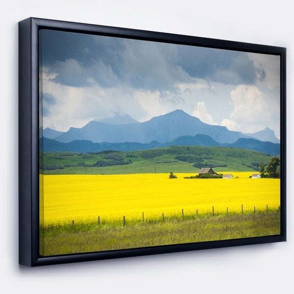 Designart \'Farm House in Field Of Canola\' Landscape Framed Canvas ...