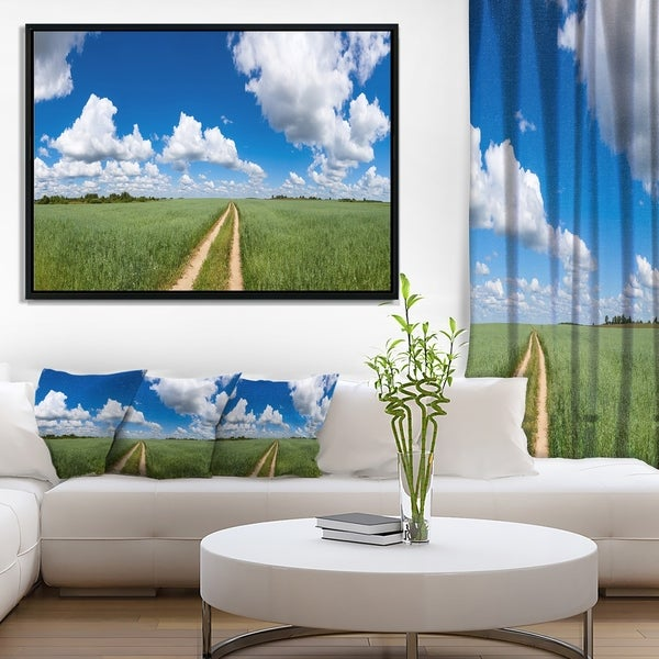 Designart 'Path in Bright Summer Panorama' Landscape Framed Canvas Art Print