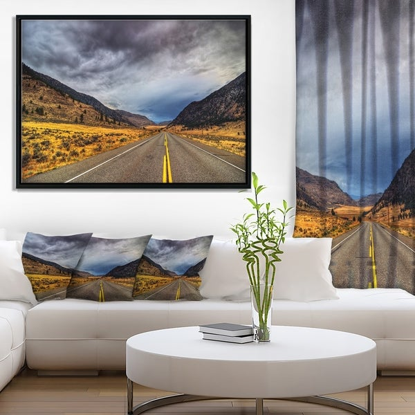 Designart 'Mountain Desert Highway British Columbia' Extra Large Landscape Framed Canvas Art Print