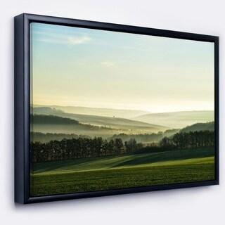 Designart 'Superb Green Hills in the Fog' Landscape Framed Canvas Art Print