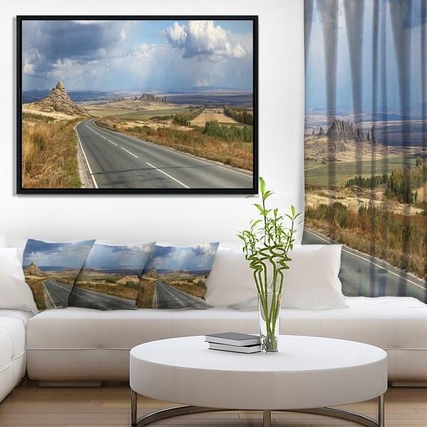 Designart 'Road in East Kazakhstan Panorama' Landscape Framed Canvas Art Print