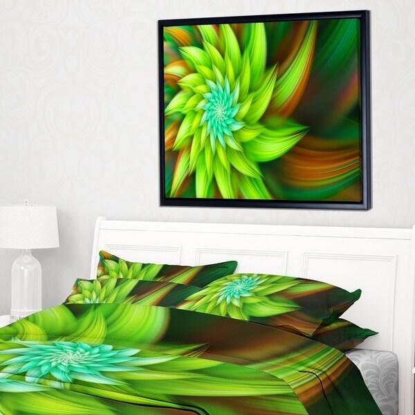 Designart 'Huge Clear Green Fractal Flower' Floral Framed Canvas Art Print