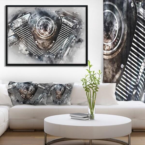 Designart 'Motorcycle Engine Watercolor' Contemporary Framed Canvas Art Print