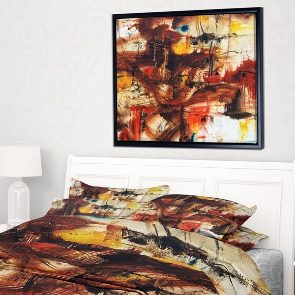 Designart 'Watercolor Red and Yellow Spots' Large Abstract Framed Canvas Artwork