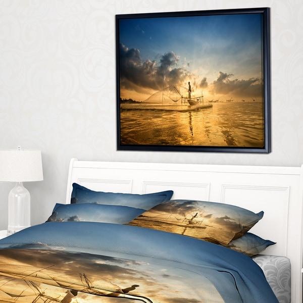 Designart 'Pakpra with Fisherman at Sunrise' Landscape Framed Canvas Art Print