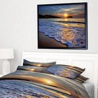 Designart 'Calm Seashore with Blue Waves' Seashore Framed Canvas Art Print