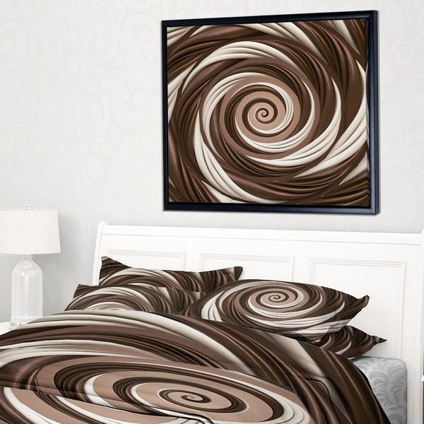Designart 'Chocolate and Milk Candy Spiral Design' Abstract Framed Canvas Art Print