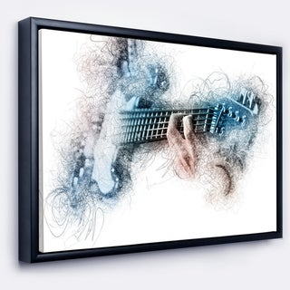 Designart 'Man Playing A Guitar Watercolor' Contemporary Framed Canvas Art Print